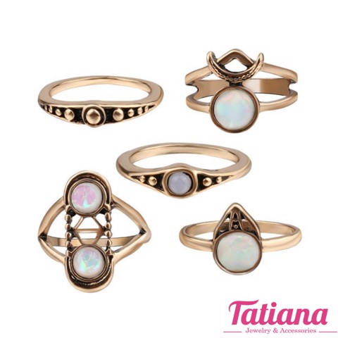 Set 5 Nhẫn Midi Ring Melody - TATIANA - NH2380 (Đồng)