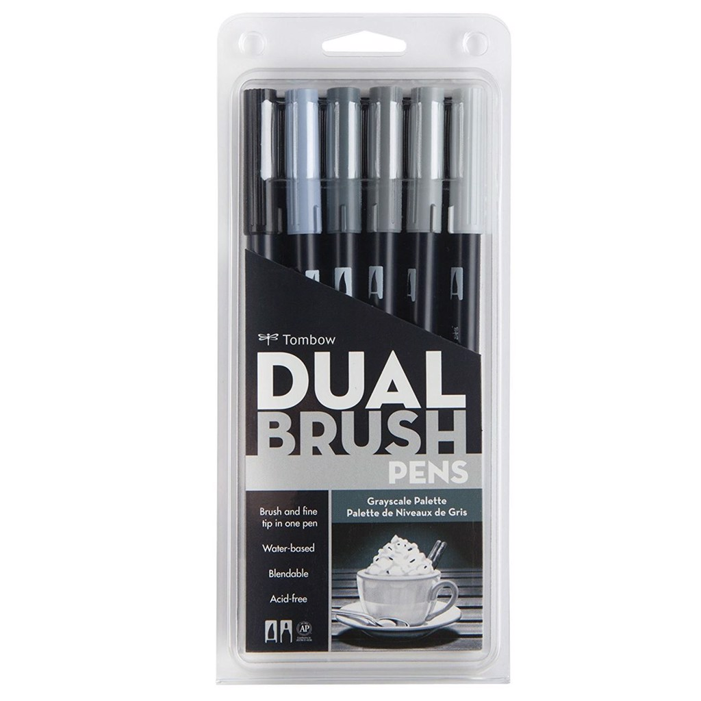 ABT Dual Brush Pen Set 6 Grayscale