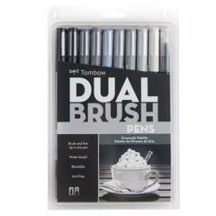 ABT Dual Brush Pen Set 10 Grayscale