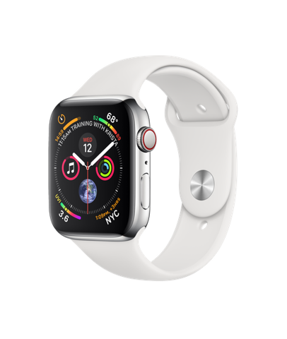 Apple Watch Series 4 (44mm) + 4G Stainless Steel Case with White Sport Band