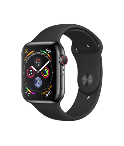 Apple Watch Series 4 (44mm) + 4G Space Black Stainless Steel Case with Black Sport Band