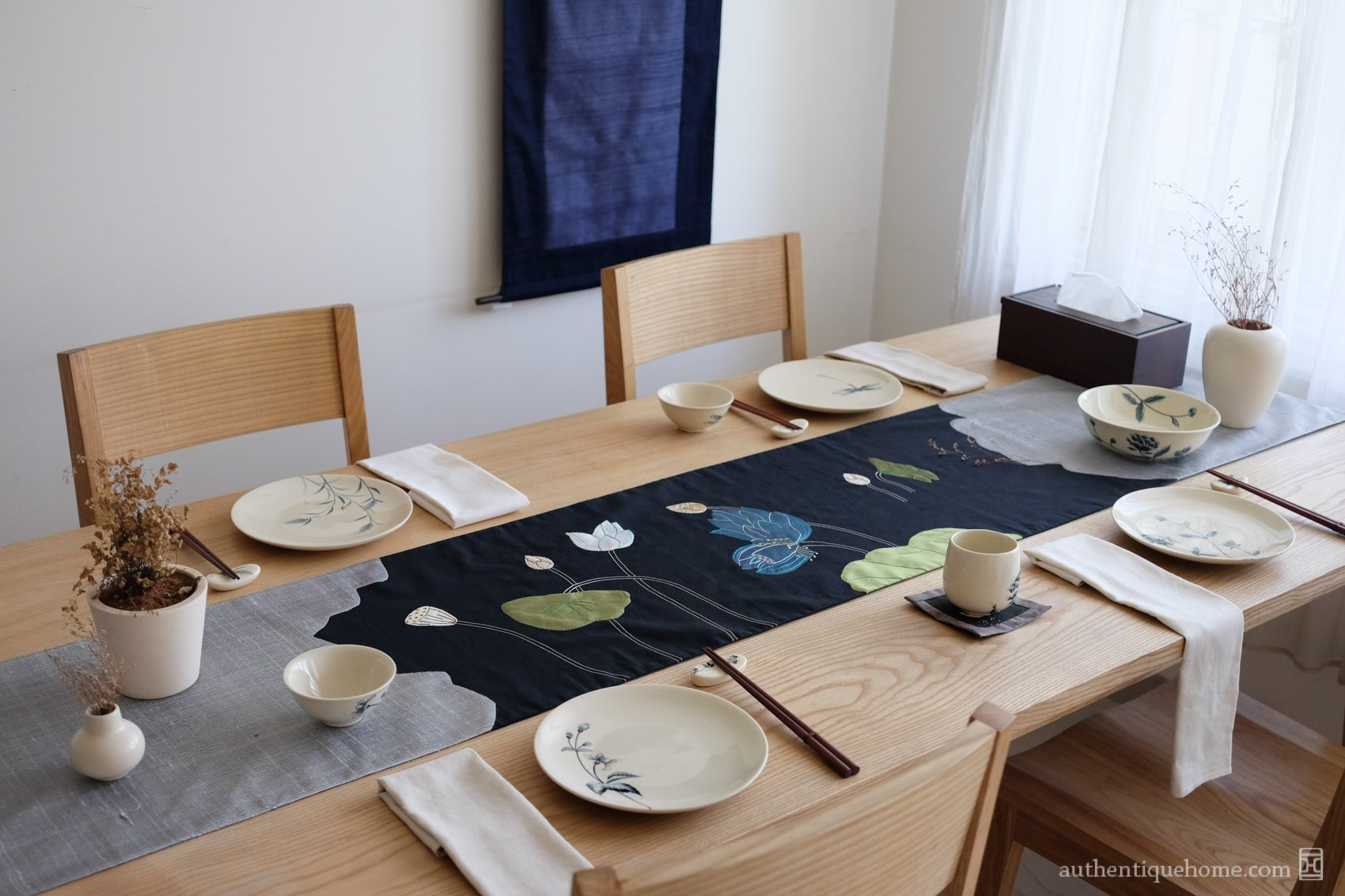 Decorative Table Runner   Autumn Lotus Pond Grey