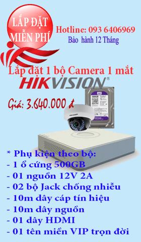 Lắp đặt camera 1 bộ 1 mắt Camera Hikvision 1.0 Megapixel