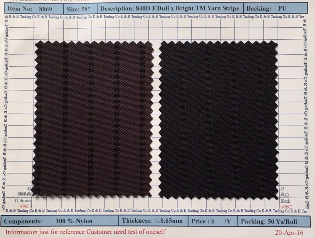Item 8069: 840D F.Dull x Bright TM yarn Stripe Backing PU