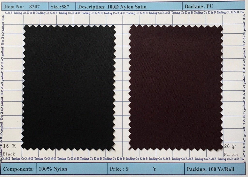Item 8207: 100D Nylon Satin Backing PU