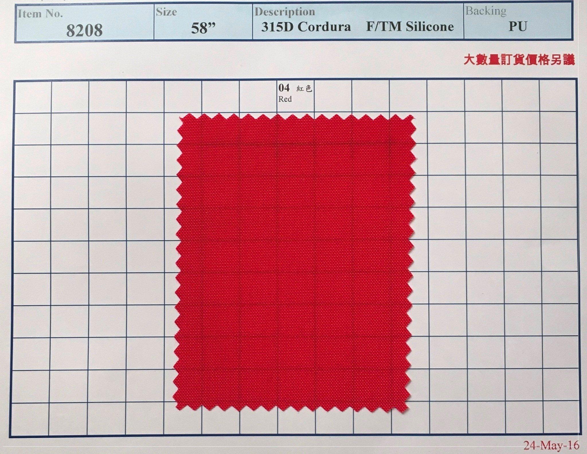 item 8208 315d cordura f tm silicone backing pu