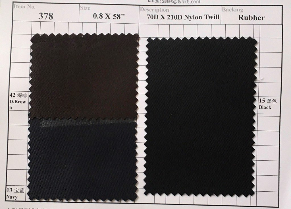 Item 378: 70D x 210D Nylon Twill Backing Rubber