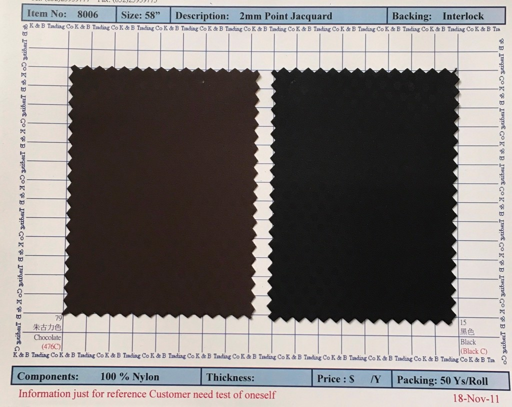 Item 8006: 2mm Point Jacquard Backing Interlock