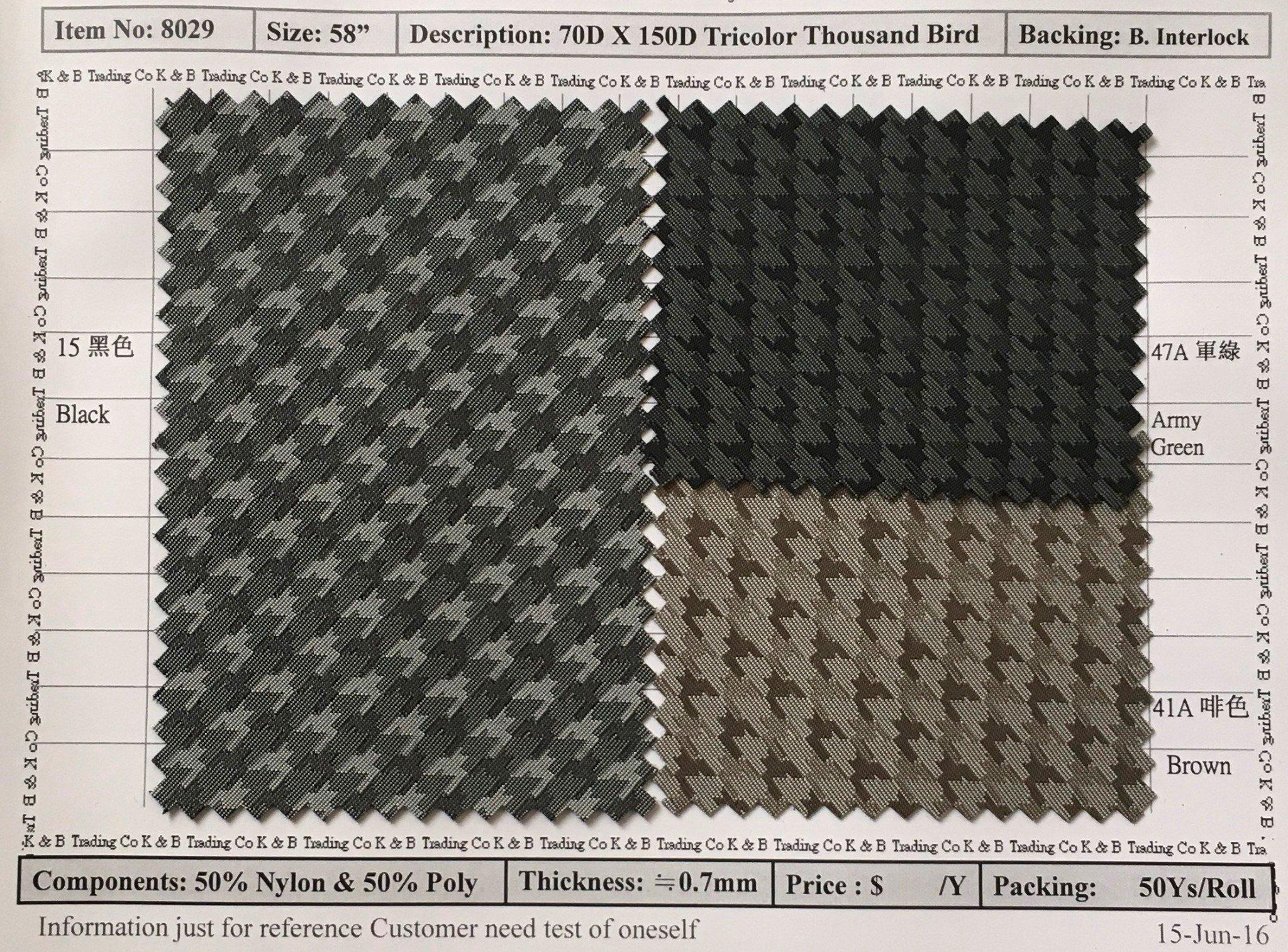 item 8029 70d x 150d tricolor thousand bird backing interlock