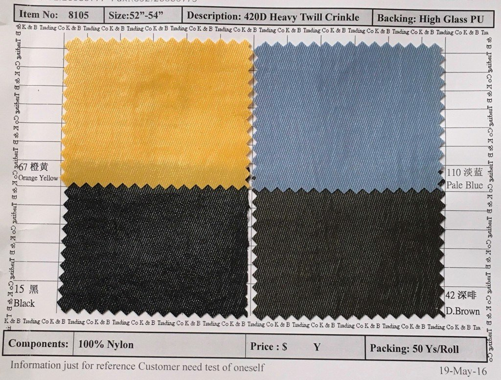 Item 8105: 420D Heavy Twill Crinkle Backing High Glass PU