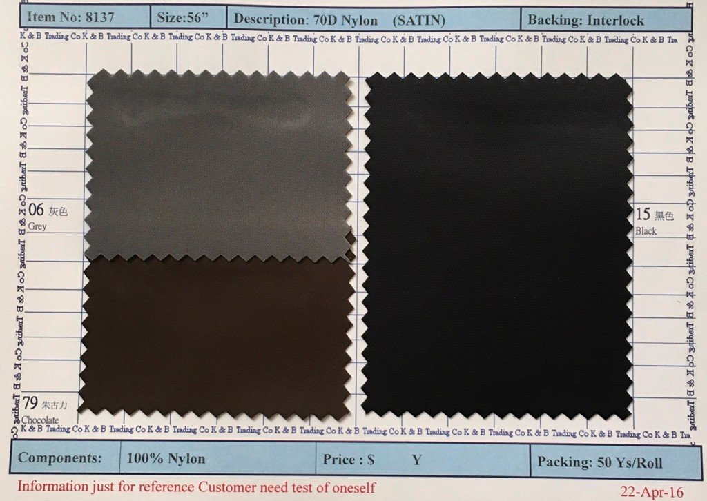 Item 8137: 70D Nylon Satin Backing Interlock
