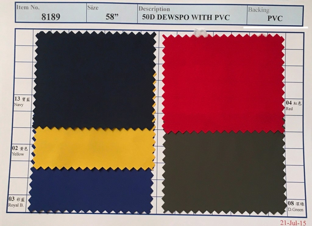 Item 8189: 50D Dewspo Backing PVC