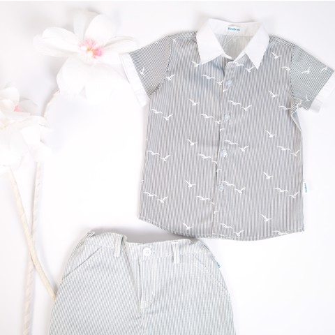 Set Cotton Shirt and Shorts with grey stripes