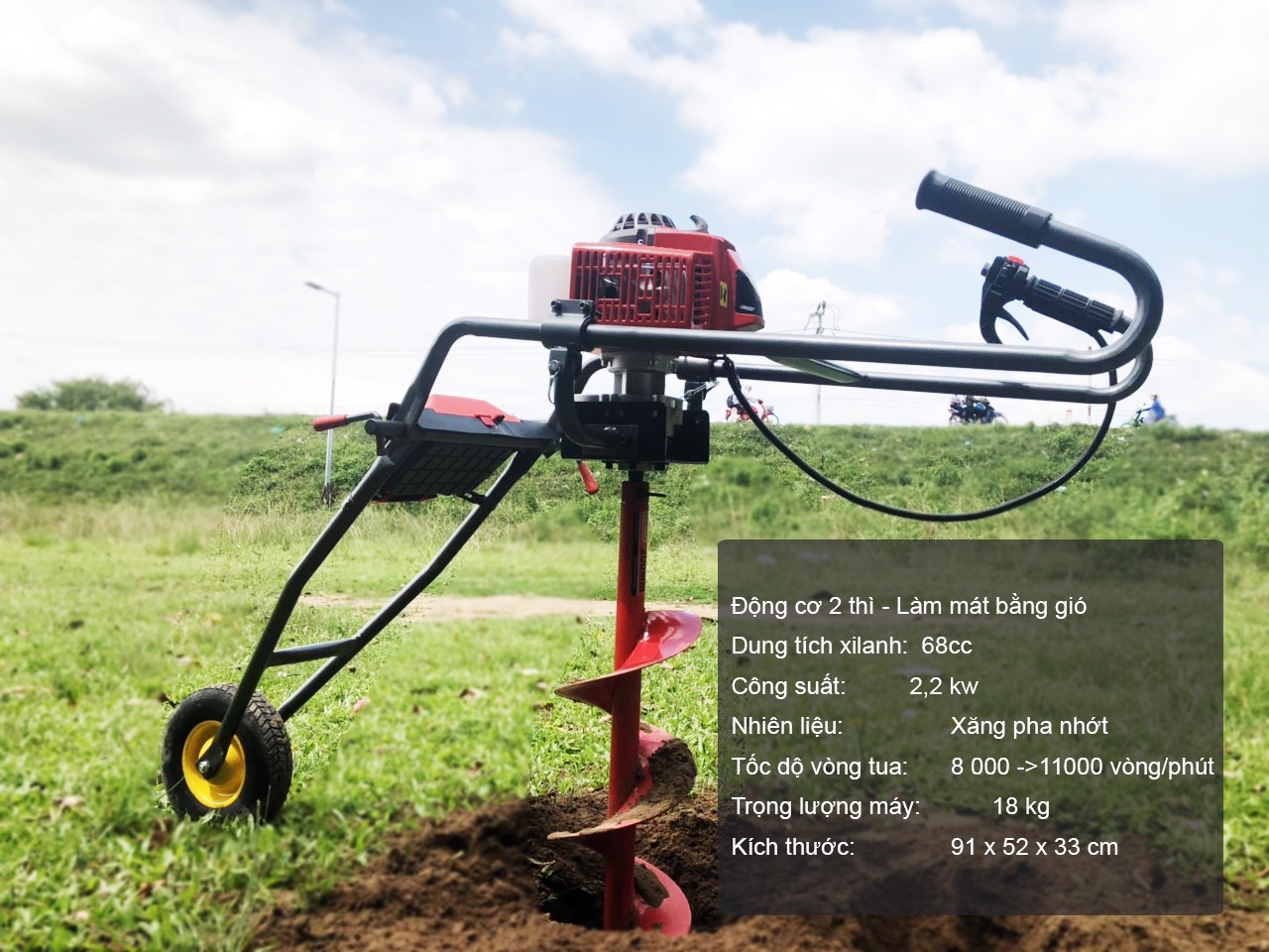 www.kenhraovat.com: Máy khoan đất có bánh xe đẩy khoan trồng cây giá cực rẻ