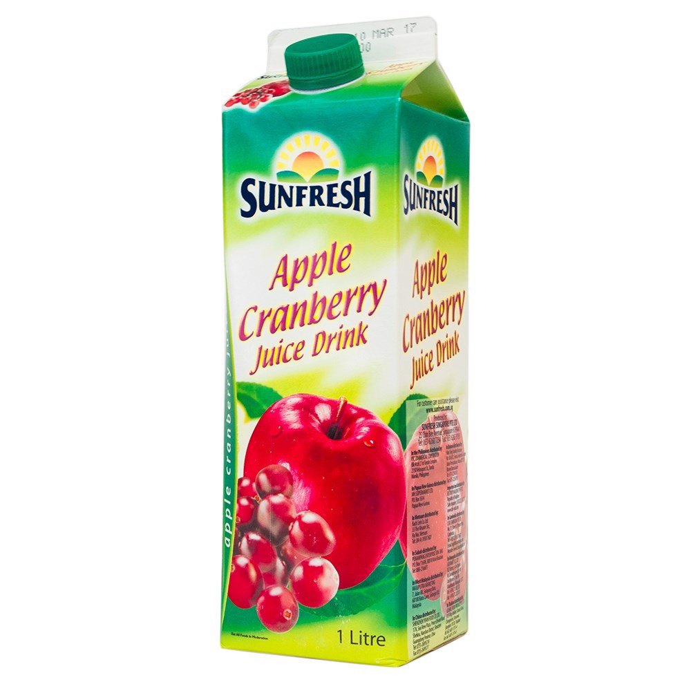 Sunfresh apple cranberry juice 1L