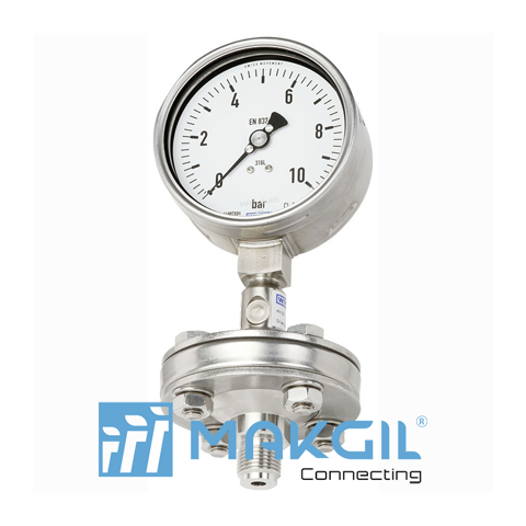 Pressure gauge per EN 837-1 with mounted diaphragm seal Model DSS10M