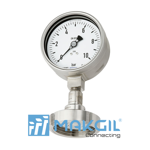 Pressure gauge per EN 837-1 with mounted diaphragm seal Model DSS18F