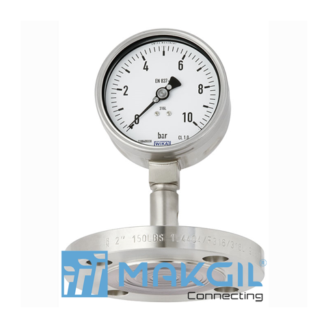 Pressure gauge per EN 837-1 with mounted diaphragm seal Model DSS27M