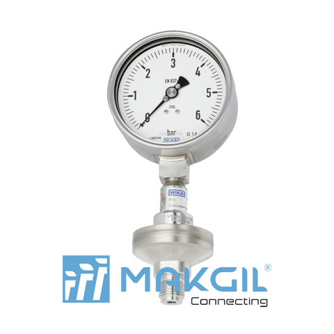 Pressure gauge per EN 837-1 with mounted diaphragm seal Model DSS34M