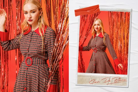 Houndstooth Red Shirtwaist Dress