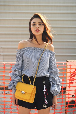 Blue Striped Billow Sleeve Blouse