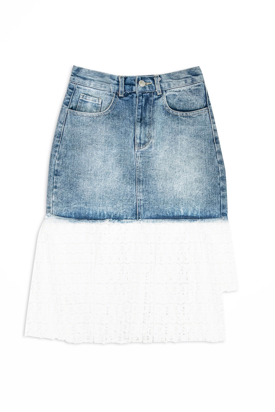 Lace Denim Skirt