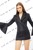 Quilting Trumpet Long Sleeve Blazer Mini Dress