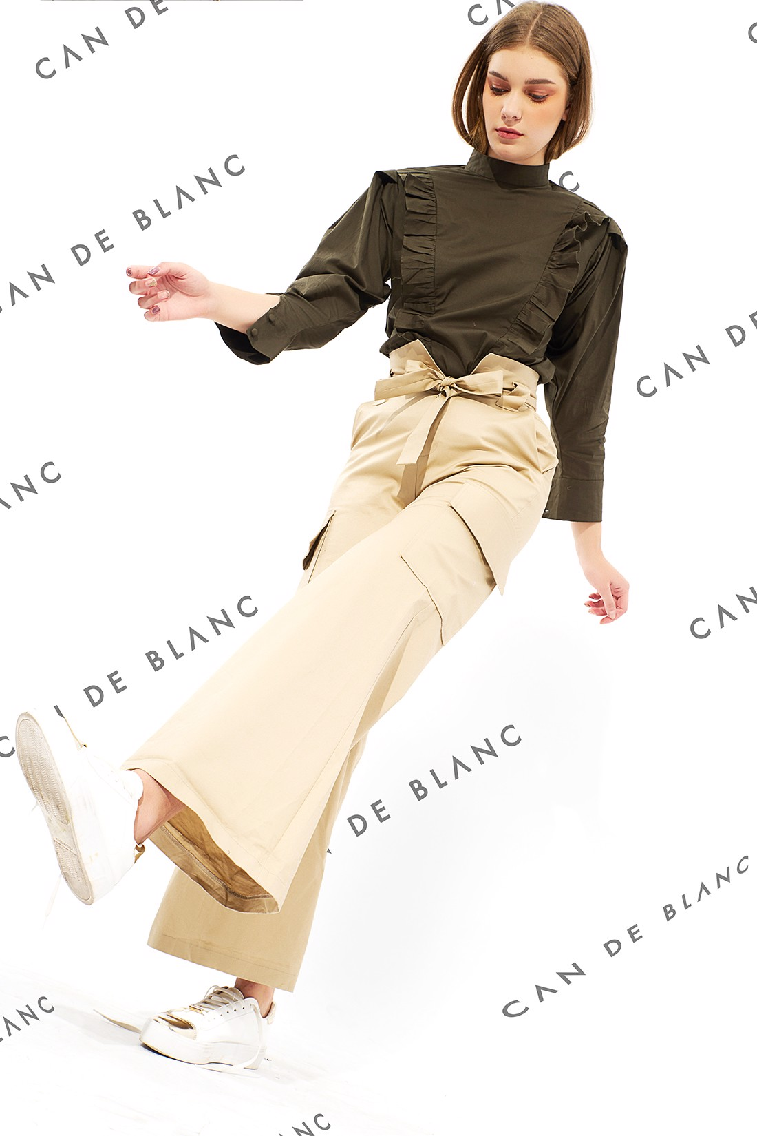 Cargo Flare Trousers With Belt