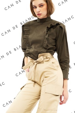 Front Rufles Band Collar Long Sleeve Blouse