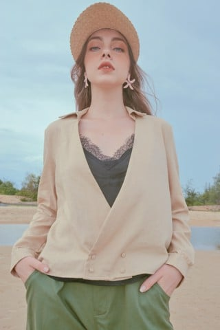 Beige Linen Shirt with Bra