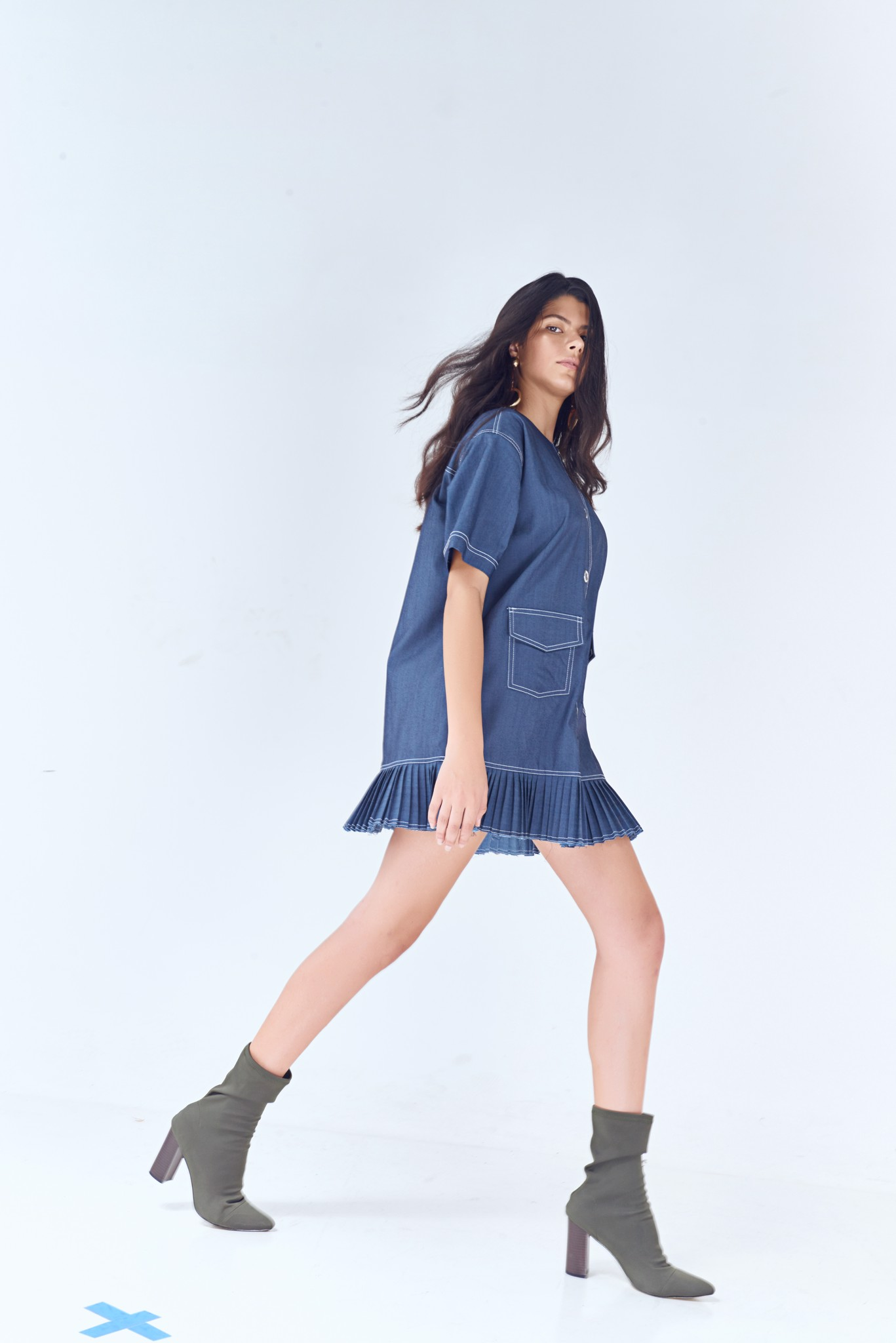 Denim Pleated Hem Mini Dress