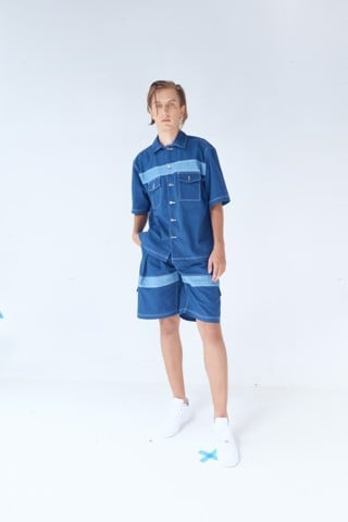 Contrast Panel Pleated Short Pants