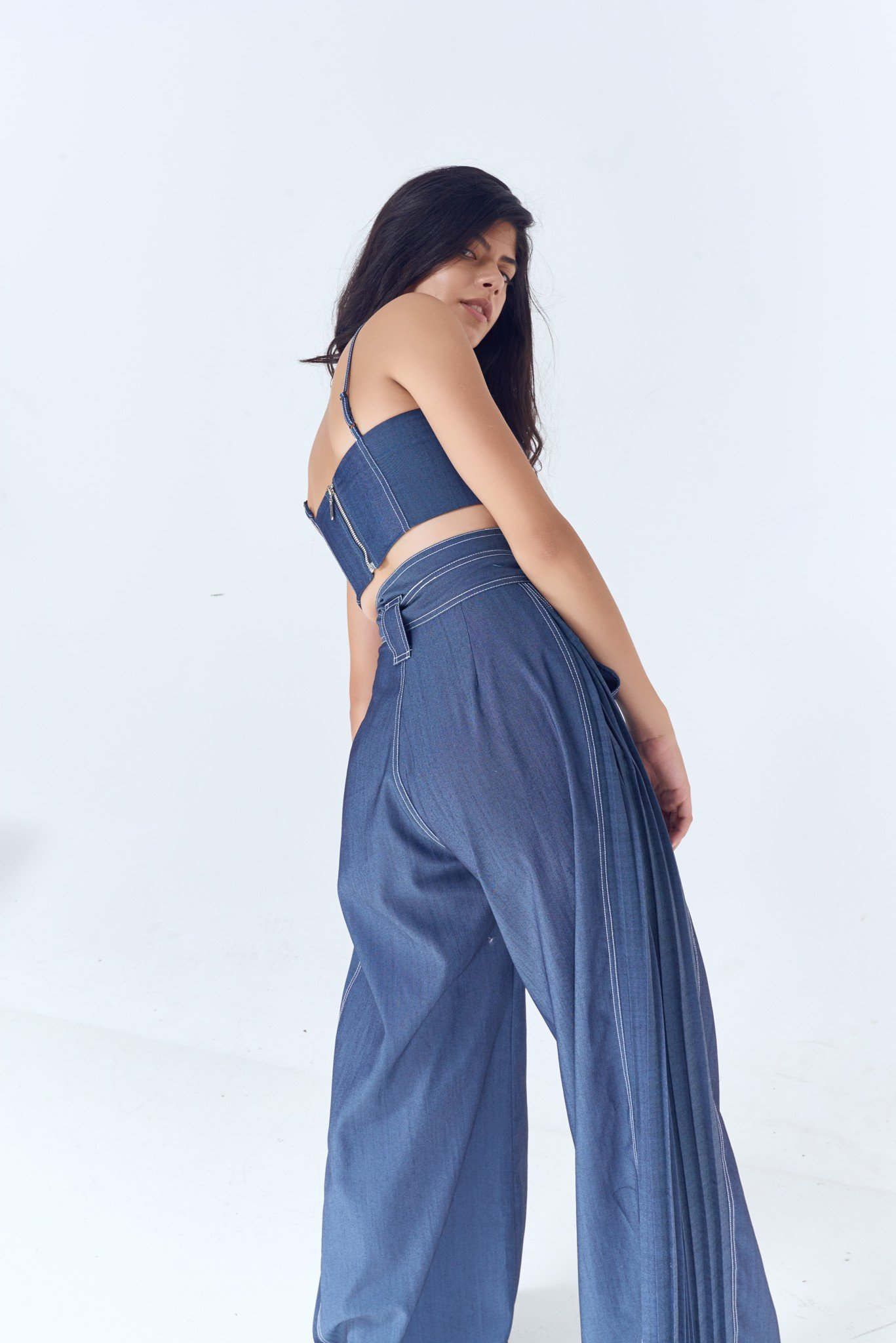 Denim Pleated Side Palazo Pants