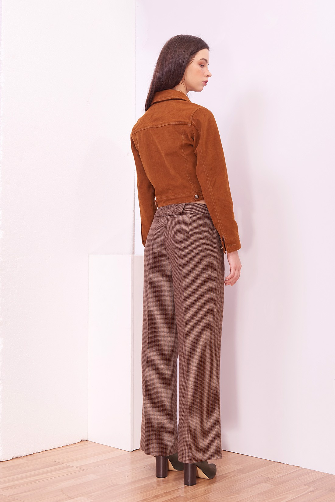 Rib Flap Brown Houndstooth Trousers