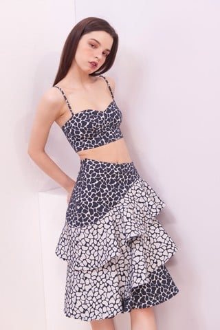 Rock Wall Pattern Ruffles Skirt
