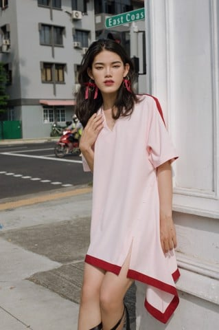 V-neck Asymmetric Oversized Dress