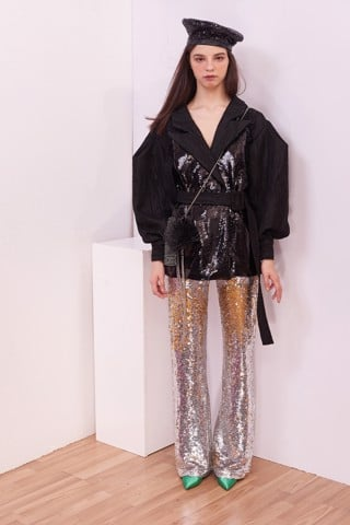Two Sided Sequin Flare Trouser