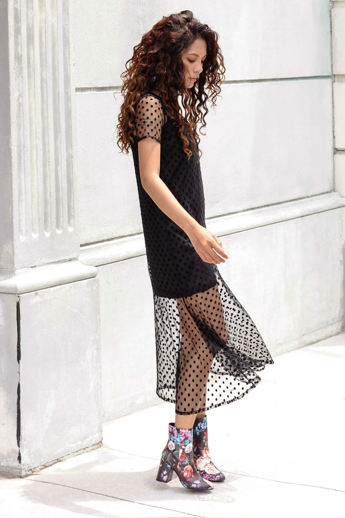 Set Seethrough Dots Long Dress