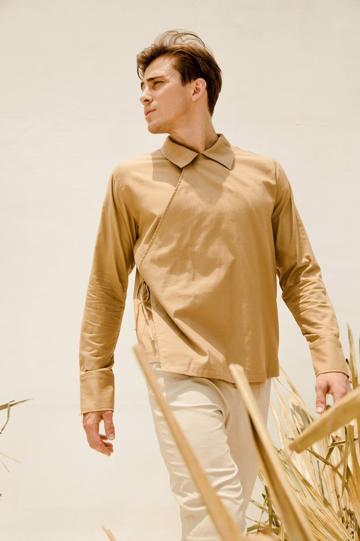 Beige Wrap Shirt