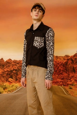 BLACK SHIRT mix LEOPARD PRINT