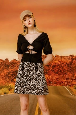 Leopard Print Button Skirt
