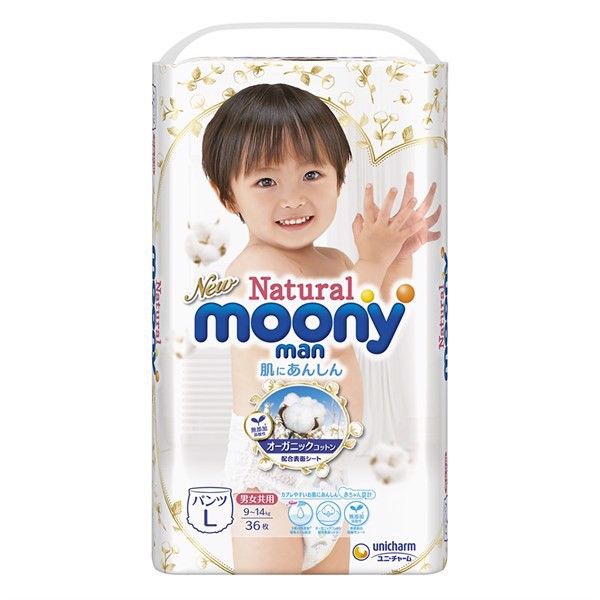 Bỉm Moony Natural quần L36 (9-14kg)