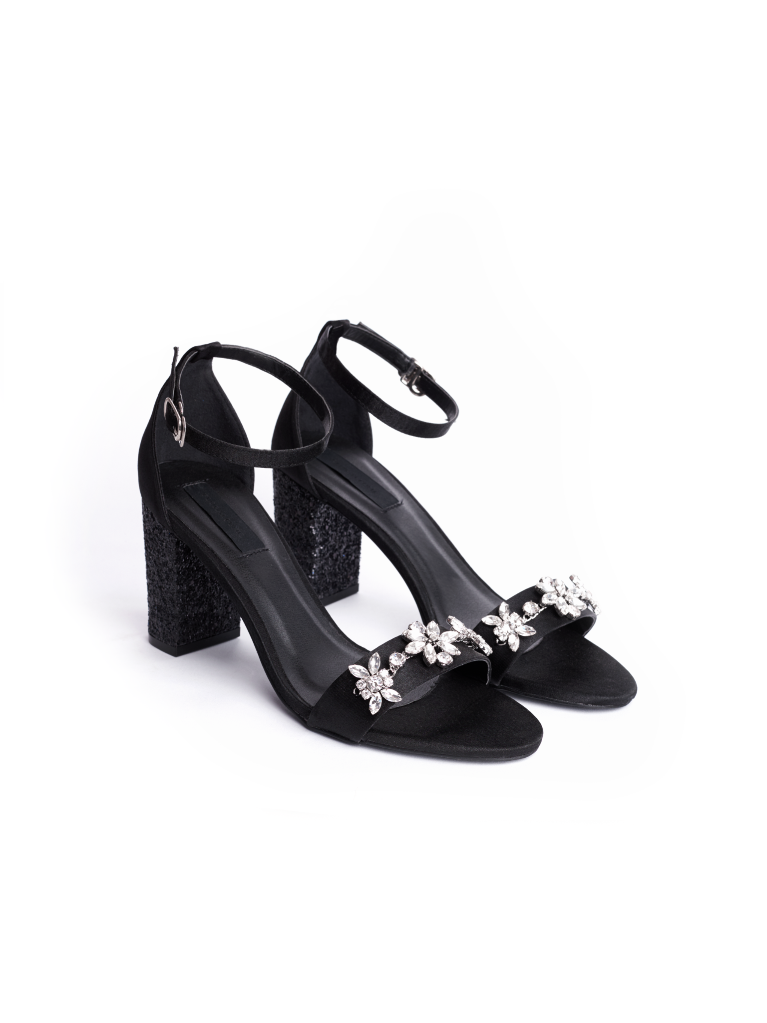Flower Strappy Heels | black