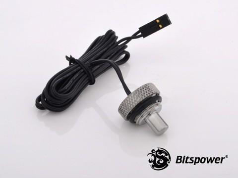 Bitspower G1/4'' Silver Shining Temperature Sensor Stop Fitting