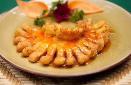 Fried filet fish cooking with your choice's sauce