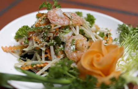 Lotus root salad with shrimp