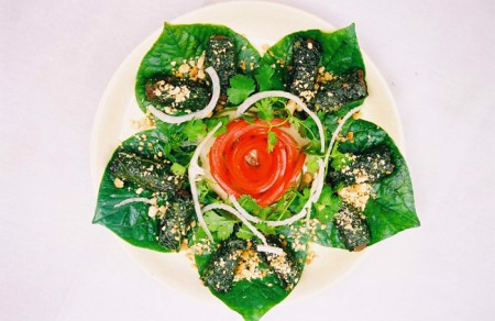 Grilled Minced beef rolled with betel leaves