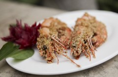 Fried prawn with sesames
