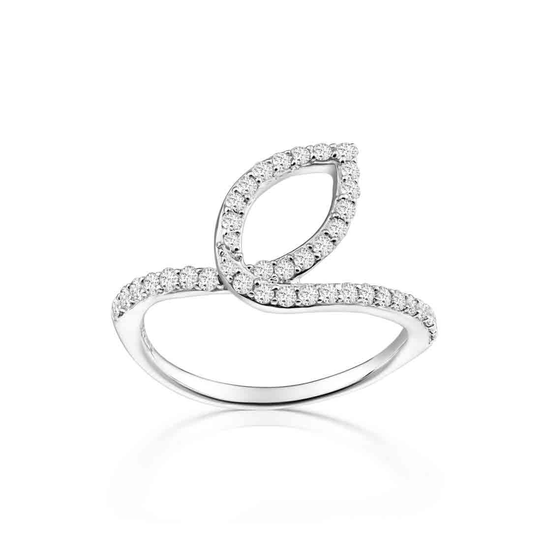 Nhẫn kim cương Stacked Leaf