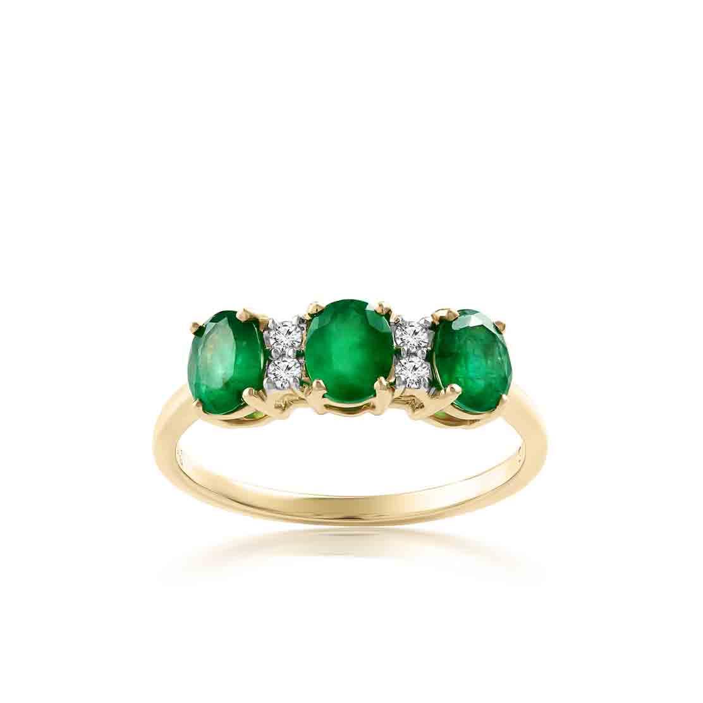 Nhẫn kim cương Trio-Emerald